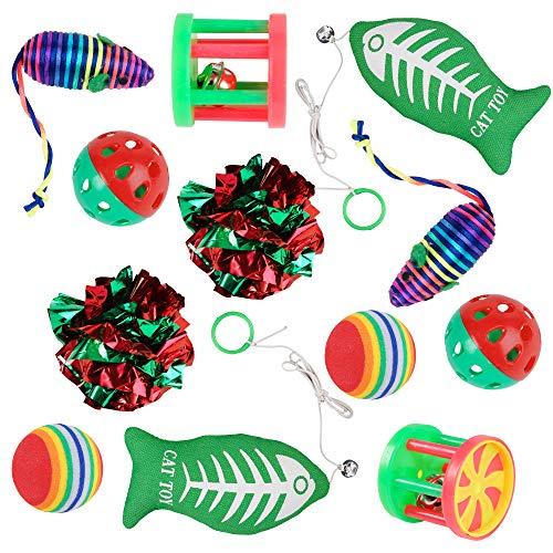 Weihnachten Katzenstrumpf-Spielzeug Set, 2er Set, Katzen und Kätzchen, 6 Verschiedene Spielzeuge - Vorteilspackung (Fisch Kostüm Katze Im Hut)