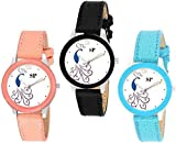 Sp Analogue White Dial Combo Of 3 Girl's Watch - 887755