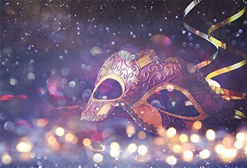 EdCott 10x8ft Maskerade Party Hintergrund Deluxe Bokeh Karneval Lacy Maske Foto Hintergrund Prom Halloween Kostüm Poster Dekorationen Photo Booth Prop
