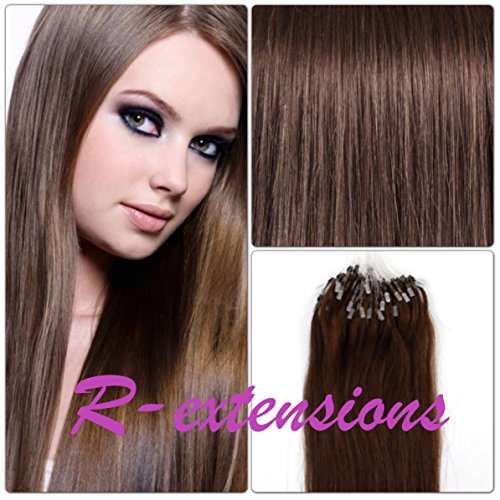 R-EXTENSIONS - 200 EXTENSIONS DE CHEVEUX NATURELS 50CM POSE A FROID EASY LOOP CHATAIN CHOCOLAT #4