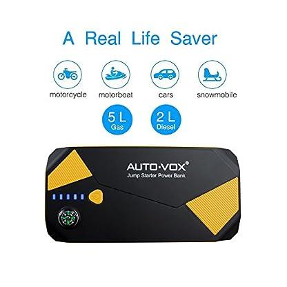 AUTO-VOX P2Sistema de ayuda de arranque para coche, corriente máxima de 500 A, 14000 mAh, batería de coche portátil, batería externa, cargador con brújula y linterna LED, para portátil, smartphone, tablet y mucho más