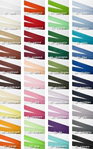Jajasio Paspelband Baumwolle, 10 Meter, in 40 Farben, Biesenband BW / Farbe: 40 – schwarz