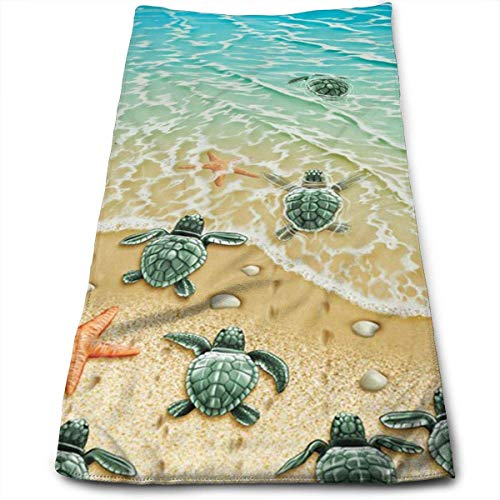 Osmykqe Turtles On The Beach 100% Cotton Towels Ultra Soft & Absorbent Bathroom Towels - Great Shower Towels, Hotel Towels & Gym Towels - Body Delta-shower