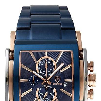 Detomaso San Leone de Hombre Reloj de Pulsera Cronógrafo analógico de Cuarzo Azul Correa de Acero Inoxidable Esfera Azul dt1081de N