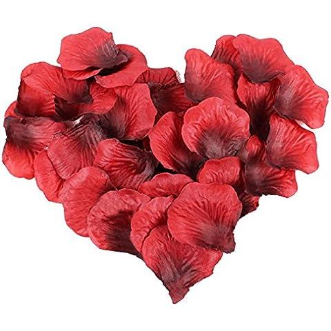 JJOnlineStore-1000 petali di rosa in seta, coriandoli, motivo: fidanzamento, decorazione romantica per feste, colore: bordeaux - 1000 Di Rosa Di Seta Petali