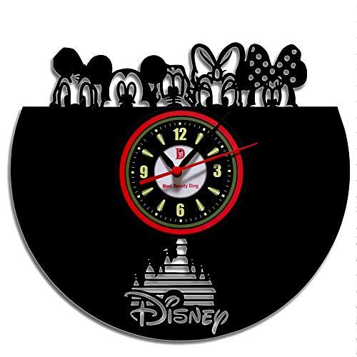 Meet Beauty Ding Creative Disney Movie Character Thema handgefertigte Vinyl-Platten-WanduhrVintage DIY Heimdekoration30,5 cm schwarz rund