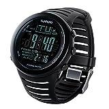 50m Wasserdicht Angeln Wettervorhersage Barometer Altimeter Thermometer Digital Smart Armbanduhr mit Hintergrundbeleuchtung Schwarz