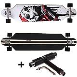 FunTomia® Longboard Skateboard Board Skaten Cruiser Komplettboard mit Mach1® High Speed Kugellager / Farbe Weiß Totenkopf + T-Tool