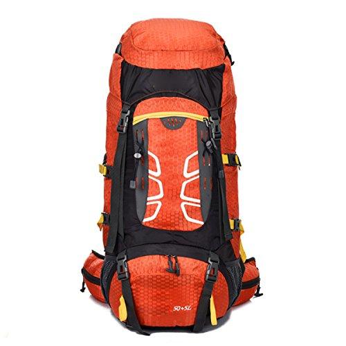 Outdoor-Bergsteigen-Tasche Männliche Damen-Reise-Rucksack Große Kapazität Wandertasche,Red Orange
