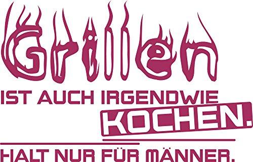 graz-design Wandtattoo Wand-Spruch Grillen Spruch | Küchen-Tattoos für Küchen-Wände und Schränke | Aufkleber für Draußen für Grill-Partys (47x30cm//821 magnolia)