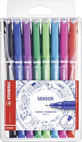 Fineliner - STABILO SENSOR - 8er Etui - schwarz, blau, lila, grün, hellgrün, türkis, pink, rot