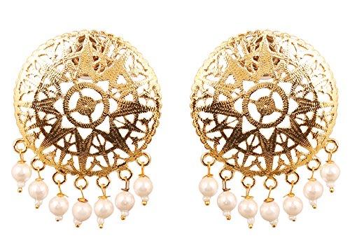Touchstone indischen Bollywood Pretty Prägung Arbeitsleuchte Gewicht Traditionelle, Perlen Trauben Designer Schmuck Ohrringe für Frauen in Gold Ton