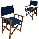 Regiestuhl 2Stück Springfield blau Eukalyptus geölt klappbar FSC-zertifiziert