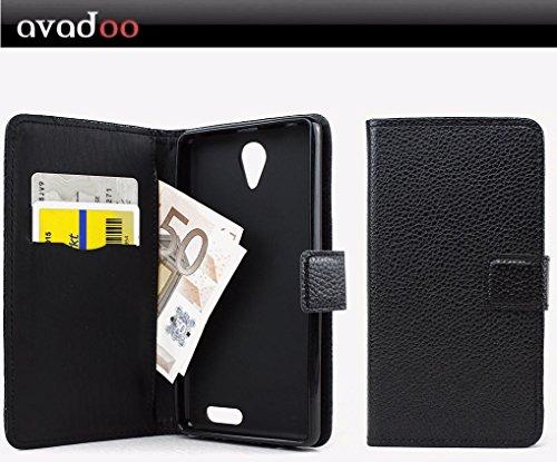 avadoo® Medion Life E5020 Flip Case Cover Tasche Schwarz mit Magnetverschluss und Dualnaht als Cover Tasche Hülle
