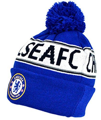 Official Football Merchandise - Berretto con risvolto lavorato a maglia, con nome e colori ufficiali di varie squadre di calcio, misura unica, con loghi ufficiali Chelsea FC Taglia unica