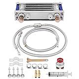 KIMISS Aluminium 65 ml Motorrad Ölkühler Motorölkühlung Kühler System Kit Mit 2 Stücke...