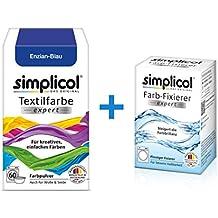 simplicol Textilfarbe expert + Farbfixierer Kombipack I Enzian-Blau 1709 I Farbe für Waschmaschine oder manuelles Färben