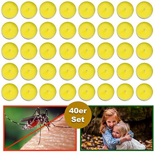 esto24 Set di 40 lumini profumati alla citronella per Esterni Anti zanzare e Insetti Ideali per balconi terrazze Giardini e Campeggio.