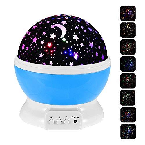 KDJ Nachtlicht Projektor, Nachtlampe für Kinder, 360 Grad Mond Sterne Projektion Sternenhimmel Projektor, Rotation Nacht Projektor Lampe, romantische Dekoration Lampe für Kinder Kinder Schlafzimmer