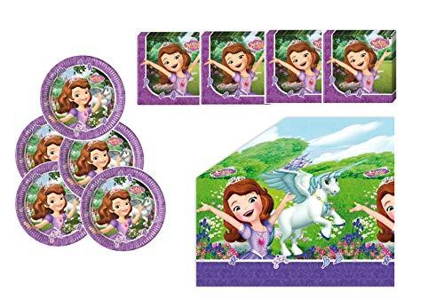 Motto Party Geburtstag Feier Dekoration Set: Servietten Tischdecke große Teller 29 Teile für 8 Kinder - Sofia The First