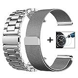 Galaxy Watch 46mm/Gear S3 Frontier/Classic Watch Armband, VIGOSS 22mm Silber voll magnetischer Schlaufe, Mailänder Edelstahl Armband Uhrenarmband für Samsung Gear S3 Watch (Metall+Mesh, Silber)