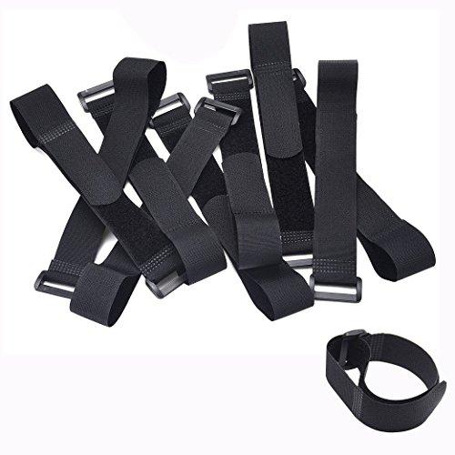 Cisixin 10 Stück Klett-Kabelbinder Klettbänder 30cm x 2.5 cm (Schwarz)