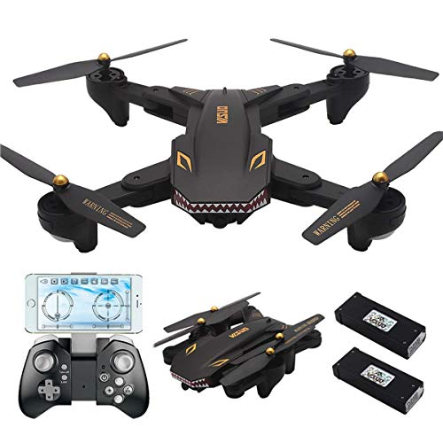 REDPAWZ Drone with Camera 1800mAh VISUO XS809S BATTLES Sharks 720P WiFi FPV Folding with HD Wide Angle Camera RC Quadcopter RTF - Black