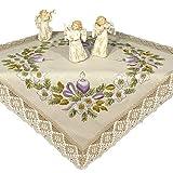 Stickpackung Frohe Weihnachten lila Kerzen, Komplettes vorgezeichnetes Tischdecken Set zum Sticken, Stickset mit Stickvorlage für Erwachsene