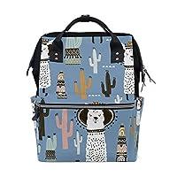 ALINLO Cute Llama Alpaca Cactus Diaper Bags Mummy Tote Bags Large Capacity Multi-Function Backpack for Travel
