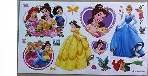 Kinder Wandtattoo Decor Prinzessin Aurora Snow weiß Ariel Jasmin Rapunzel Cinderella Belle Tiana Größe 60cm x 33cm (Die Kleine Meerjungfrau-dekor)