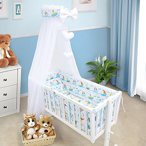 to fit Cot Bed 140x70cm,Love You Heart - Blue Plain 10 Piece Nursery Bedding Sets with Canopy for Cot