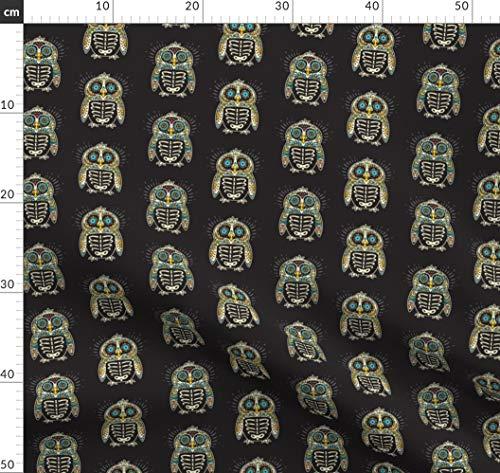 Skelett, Mexikaner, Totenkopf, Tätowierung, Tag Der Toten, Halloween, Pinguin Stoffe - Individuell Bedruckt von Spoonflower - Design von Penguinhouse Gedruckt auf Bio Musselin -