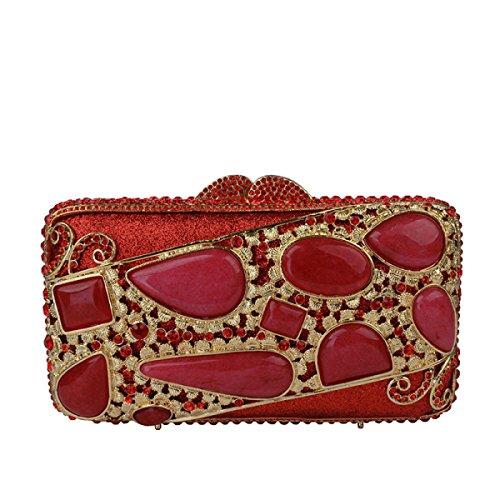Diamante Evening Bag Moda Gemme Borsa Catena Delle Donne Red