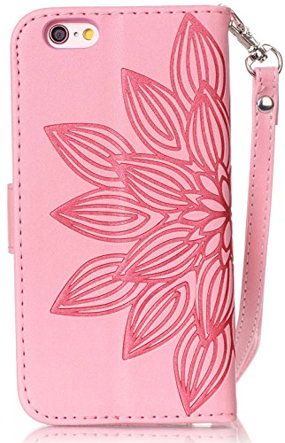 Nnopbeclik Custodia per Apple Iphone 6/6S, Custodia in pelle Protettiva Flip Case Cover Per iPhone 6/6S, stampa motivo floreale Folio PU Leather Wallet Case Fiore con strass bling diamante custodia mu Seite Blume,Pink