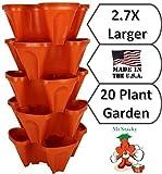 Große Vertikale Garten-stapelbar Pflanzgefäße von Mr. Stacky–Wachsen mehr Verwendung Limited Platz und minimalem Aufwand–Pflanze. Stack. Genießen.–Bj eigenen Vertical Garden–DIY Stapelbox System–für wachsende Erdbeere, Tomate, Paprika, Gurke, Kräutern, Salat, grünen, und vieles mehr, für drinnen oder draußen–stapelbar Töpfe (1, Stein)
