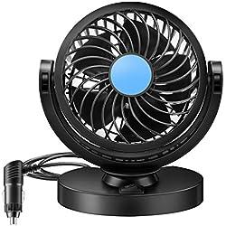 BestFire Fan Mini électrique Voiture 12V 360 Rotating Vent Fort Car Fan Car Air Conditioner Low Noise Portable Air Auto Ventilateur