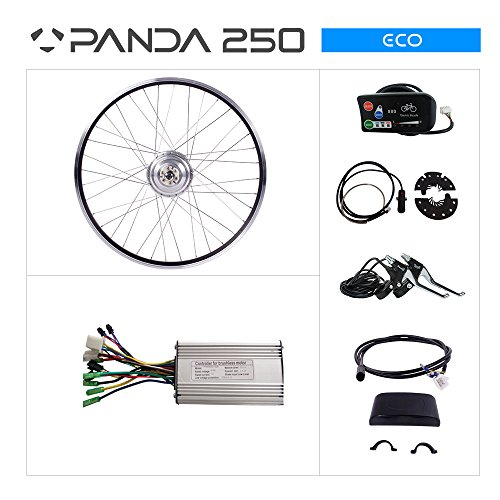 PANDA 250ECO BICICLETA ELECTRICA KIT: 36V 250W MOTOR DE PLATA  PANTALLA LED 26650B TRASERA PARA BICICLETA