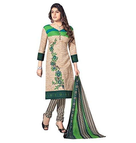 Fashion Ritmo Women\'s Cotton Salwar Suit Dress Material (11012_beige)