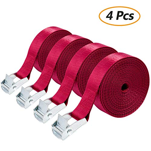 Straps for Material Handling, Comius 4 Pcs Strap Mooring, Straps for Clamping 2.5cm x 5m Straps Fastening with Buckles (Red)