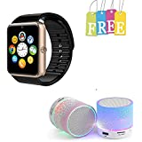 Padraig combo of Golden GT08 Smartwatch with S10 Hand-free Wireless LED Bluetooth Speakers