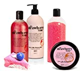 BRUBAKER Happiness 'My Strawberry Fields' Geschenkset Erdbeer mit Body Lotion, Duschgel,...