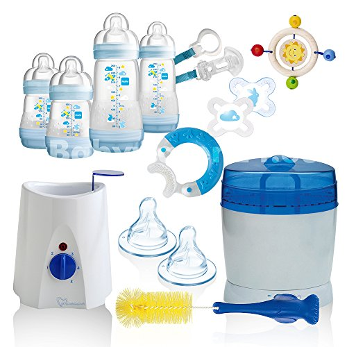 MAM All-In-One Starterset 22 tlg. Anti-Colic Flaschen Set Sterilisator Babykostwärmer (Blau)