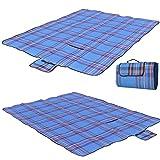 Candora pique-nique Blanket-waterproof Tartan Tapis de pique-nique Blanket-collection léger Entièrement Lined-baby Ramper Tapis, Tapis de jeu enfant -130* 150cm bleu