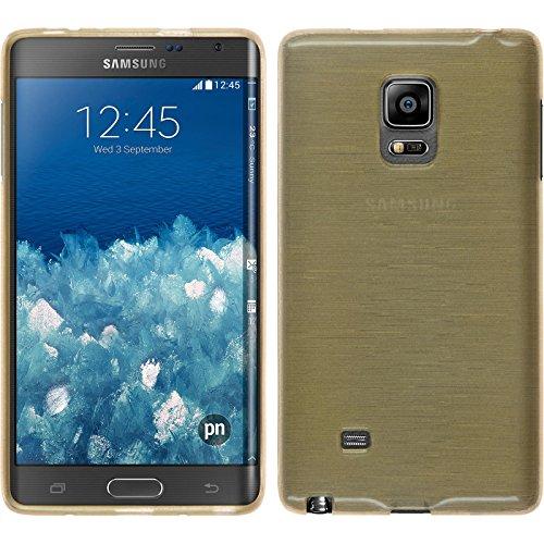 PhoneNatic Funda de silicona para Samsung Galaxy Note Edge - brushed oro - Cover Cubierta + protector de pantalla