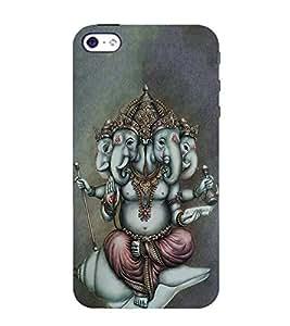 FUSON Lord Ganesha Chatur Mukhi 3D Hard Polycarbonate Designer Back Case Cover for Apple iPhone 5S