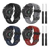 MoKo Armband für Garmin Fenix 3/Fenix 3 HR/Fenix 5X/5X Plus/D2 Delta PX - [4 Stü.] Silikon Sportarmband Uhr Band Strap Ersatzarmband Uhrenarmband mit Werkzeug, Multicolor A