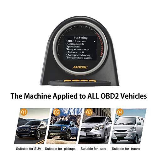 AUTOOL X70 Car HUD Head Up Display 12V OBD2/OBDII KMH MPH Digital  Speedometer Multi-Function Meter Turbo Boost Pressure Meter Overspeed Alarm  OBD2