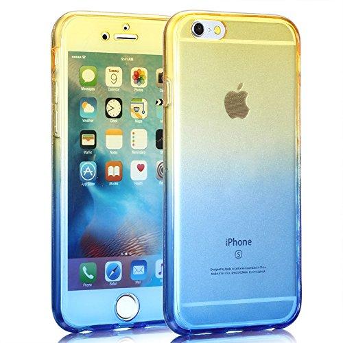 Cuatodia iPhone 7 Plus,Cover iPhone 7 Plus,Etsue 360 Gradi Ultra Sottile Tpu Transparente Completa Protettiva Caso Cover,Chiaro Cristallo Gradiente Disegno in Silicone Bumper Custodia di Protezione Ul giallo+blu