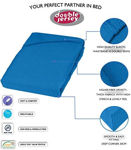 Double Jersey - Spannbettlaken 100% Baumwolle Jersey-Stretch bettlaken, Ultra Weich und Bügelfrei mit bis zu 30cm Stehghöhe, 160x200x30 Cobalt - 3