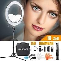 HAKUTATZ® 18 pulgadas / 48 cm 55W 3200K-5600K con trípode LED lámpara de anillo anillo luz continua de luz continua para vídeo y foto (18 pulgadas)